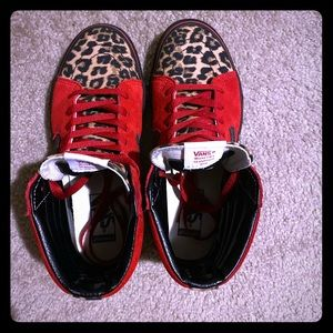 Women's Custom Vans Sk8-Hi L Red;Leopard print